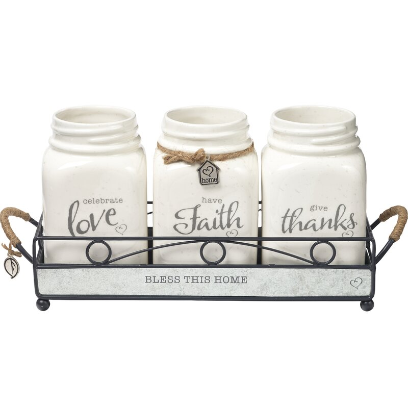 Precious Moments Ceramic 3 Piece Storage Jar Set Reviews Wayfair