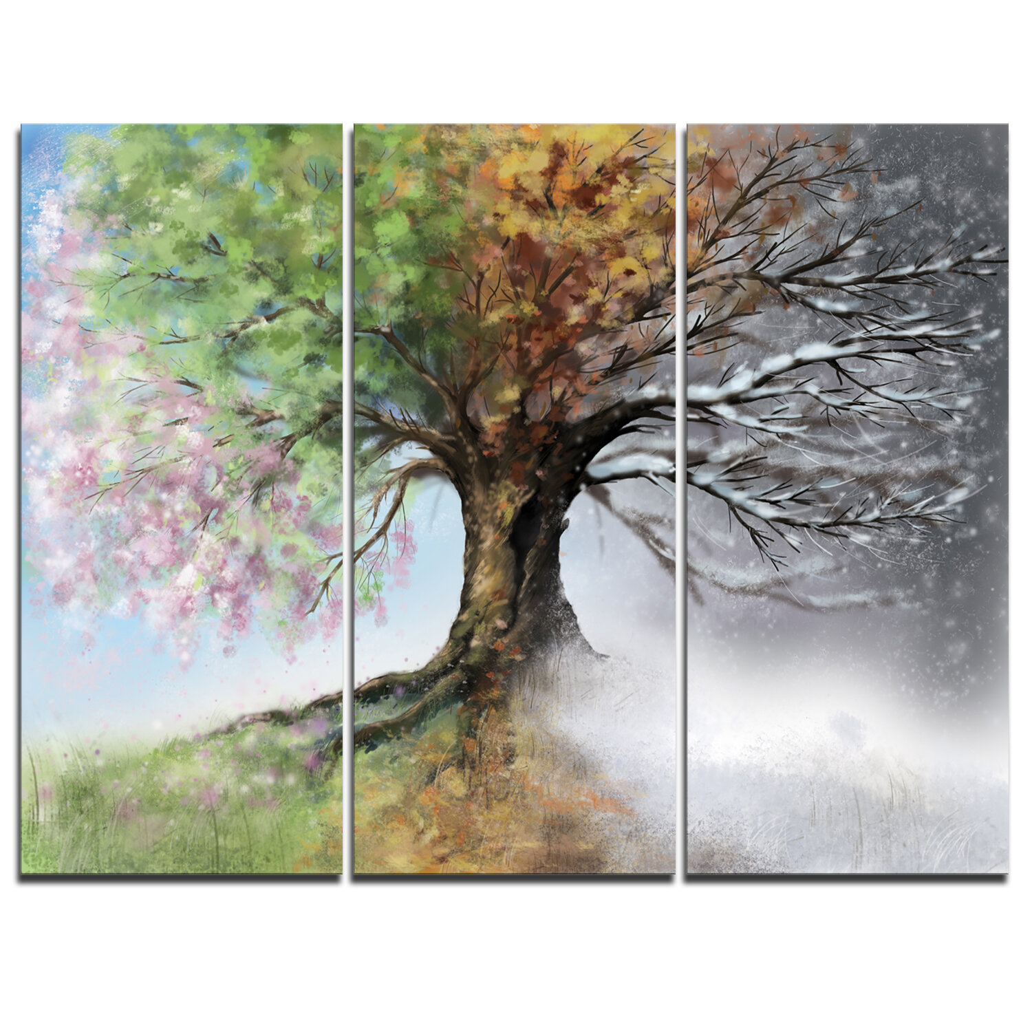 Ebern Designs Tree With Four Seasons 3 Piece Graphic Art On Wrapped Canvas Set Reviews Wayfair