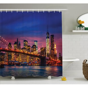 Brunella NYC with Neon Lights Shower Curtain + Hooks