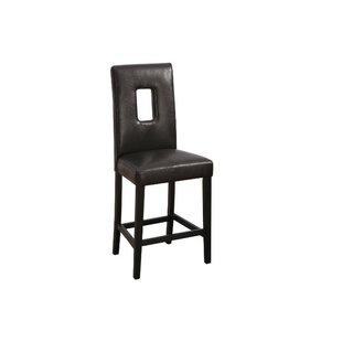Gamble Leather Bar Stool (Set of 2) Ebern Designs