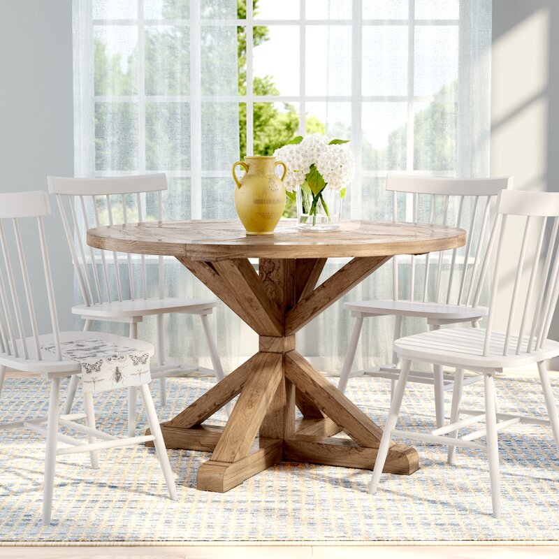Lark Manor Peralta Round Rustic Solid Wood Dining Table