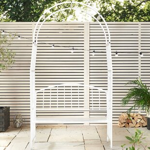 VonHaus Trellis Arch Steel Arbor with Bench