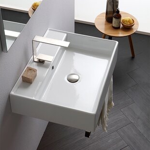 Best Reviews Teorema Ceramic 24 Console Bathroom Sink with Overflow ByScarabeo by Nameeks