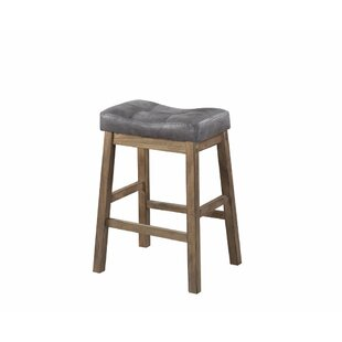 Millwood Pines Weisinger Wooden Rustic Backless 25  Bar Stool (Set of 2)