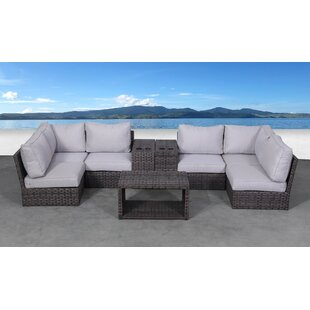 Rosecliff Heights Cochran 9 Piece Rattan Sectional Seating Group with Cushions