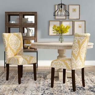 Natane Yellow & Cream Damask Parsons Chair (Set of 2) Bungalow Rose