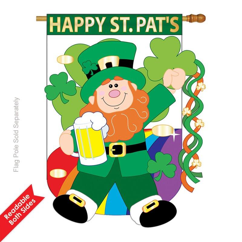 Garden Patio Flags Shamrock Basket St Patrick S Day House Flag Leprechaun Holiday 28 X 40 Bortexgroup Com