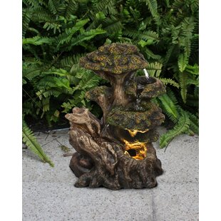 Hi-Line Gift Ltd. Resin Multi Level Tree Trunk Fountain with Light