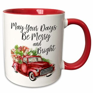 Driskell May Your Days Be Merry and Bright Watercolor Christmas Truck Coffee Mug