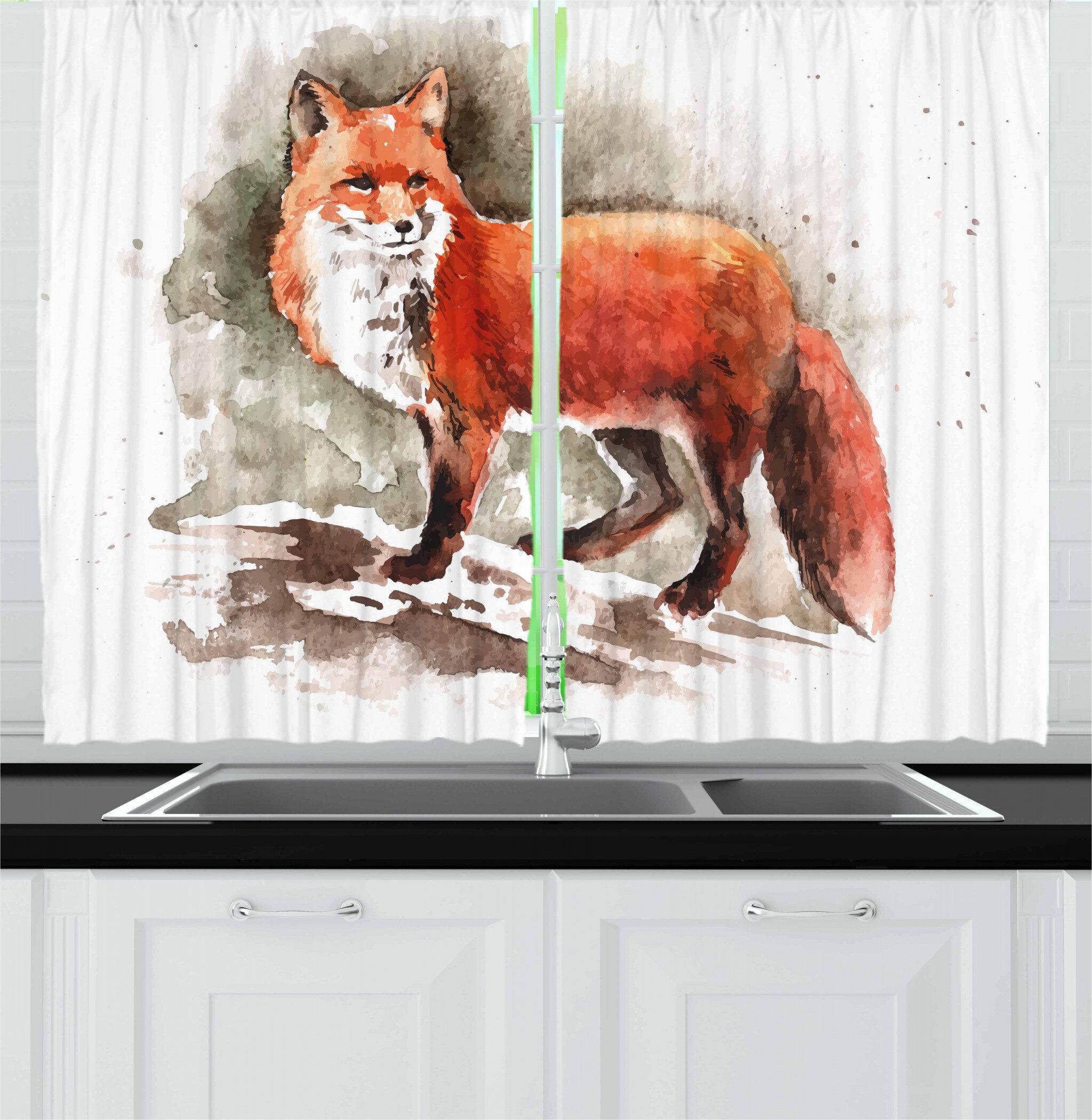 East Urban Home Fox 2 Piece Kitchen Curtain Wayfair