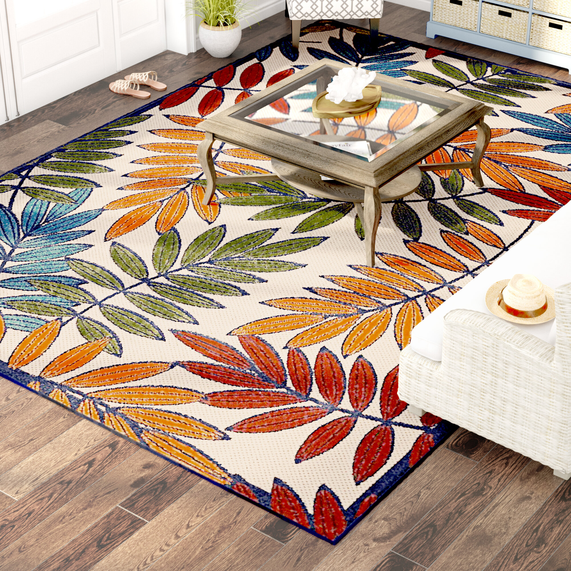 Picture of: Beachcrest Home Farley Floral Flower Gold Green Blue Indoor Outdoor Area Rug Reviews Wayfair
