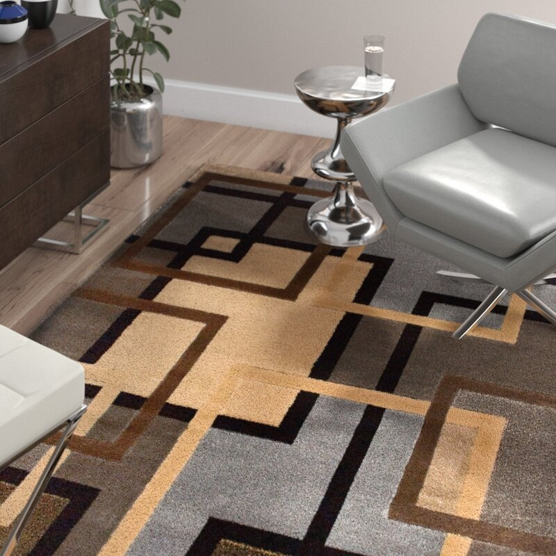 Ivy Bronx Maidenhead Geometric Beige Brown Blue Area Rug Reviews Wayfair