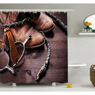Compare Western Authentic Old Leather Boots and Spurs Rustic Rodeo Equipment USA Style Art Picture Shower Curtain Set By Ambesonne
