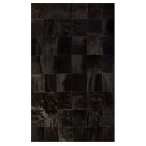 Aayush Ten Square Patch Hand-Woven Cowhide Chocolate Area Rugu00a0