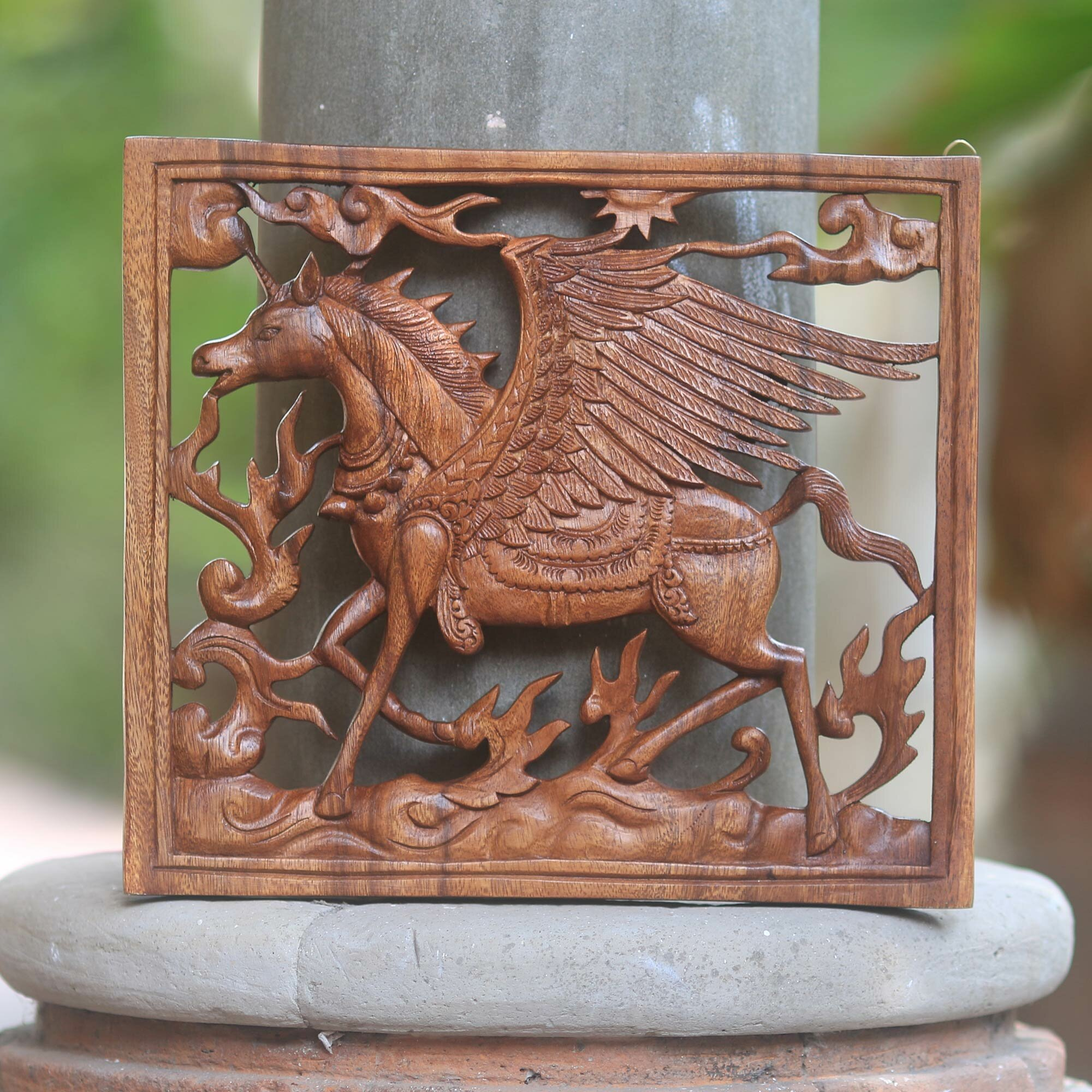 World Menagerie Pegasus Square Wood Wall Panel With Pegasus Design For The Home Wall Décor Wayfair