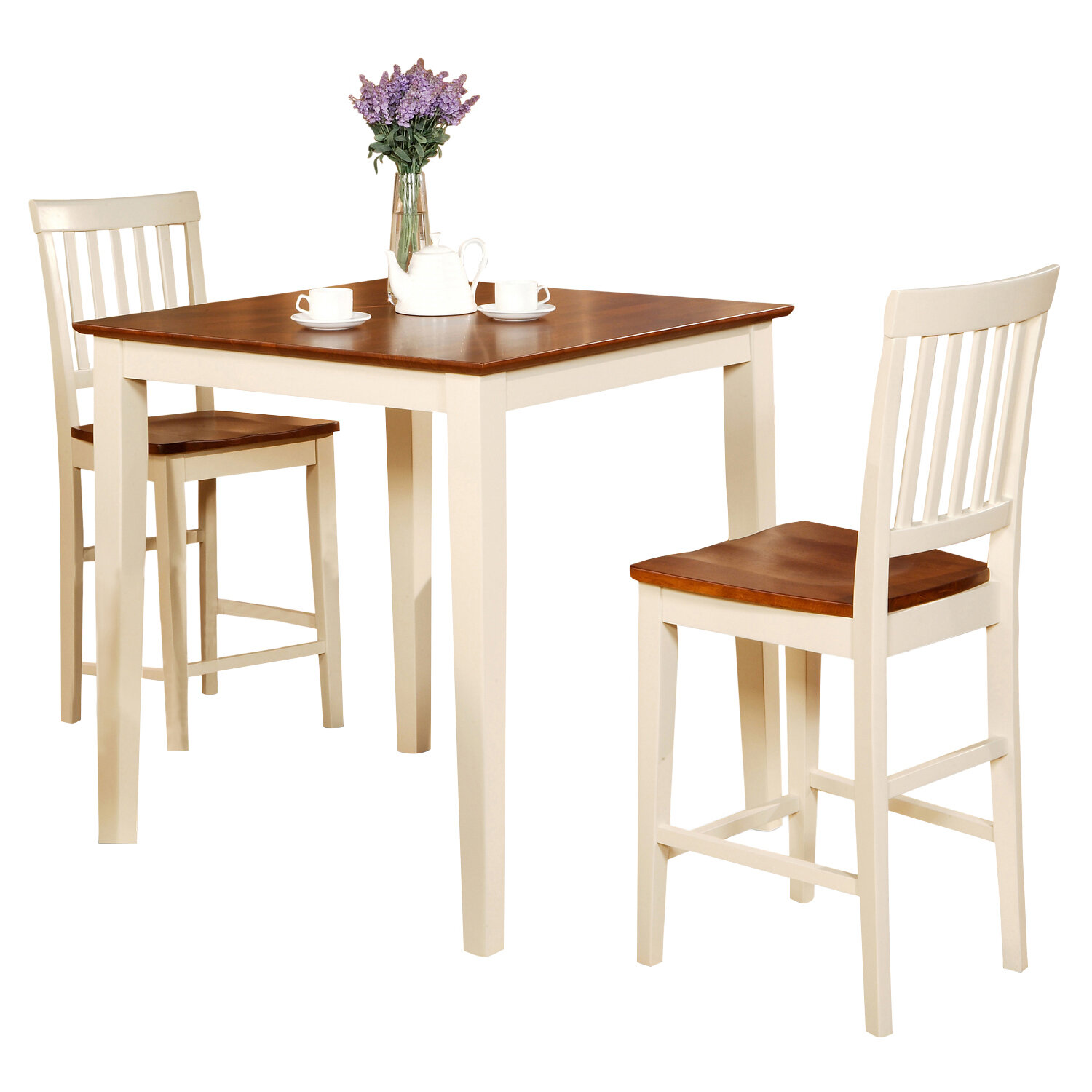 Andover Mills Quinlan 3 Piece Counter Height Wood Bistro Set ...