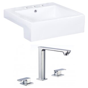 Read Reviews Xena Farmhouse Semi-Recessed Ceramic Square Vessel Bathroom Sink with Faucet and Overflow ByRoyal Purple Bath Kitchen