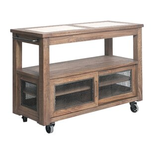 Johanna Farmhouse Kitchen Island with Stainless Steel Top