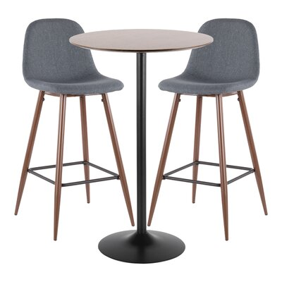 Latitude Run Blaisdell 3 Piece Pub Table Set Color: Blue