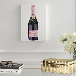 Champagne and Stars Pink' Graphic Art Print on Canvas ByHouse of Hampton
