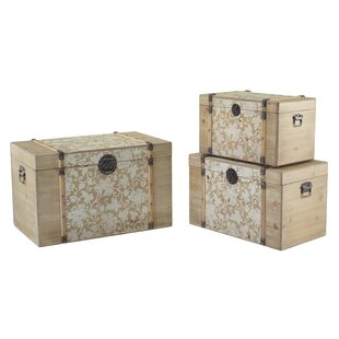 Ophelia & Co. Detroit Reed Stencilled 3 Piece Trunk Set