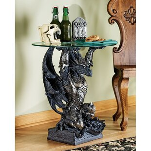 Design Toscano Hastings the Warrior Dragon Sculptural End Table