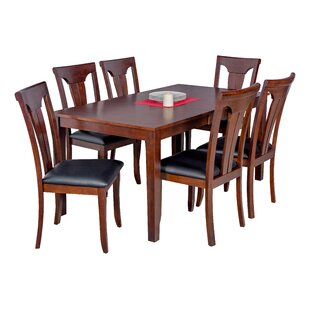 DownievilleLawsonDumont 7 Piece Solid Wood Dining Set by Loon Peak