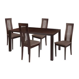 Kingston 5 Piece Espresso Solid Wood Dining Set with Framed Rail Back Design Wood Dining Chairs - Padded Seats by Ebern Designs