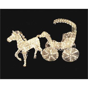 Lighted Crystal 3 D Horse And Carriage Christmas Decoration by LB International