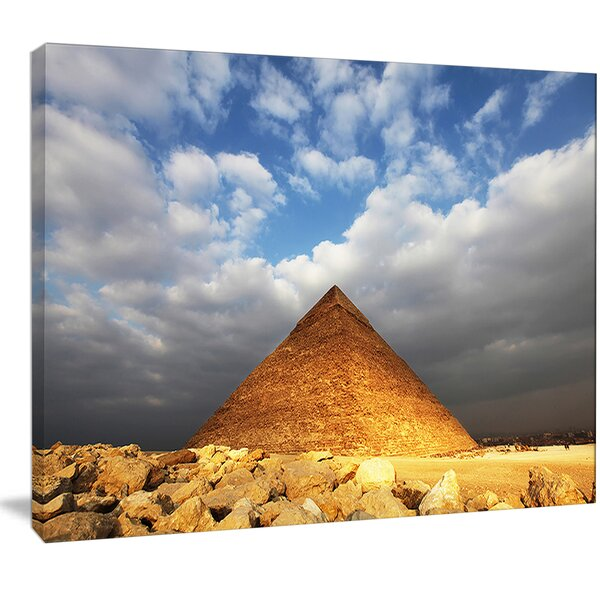 'Egyptian Pyramid Under Bright Sky' Photographic Print on Wrapped Canvas