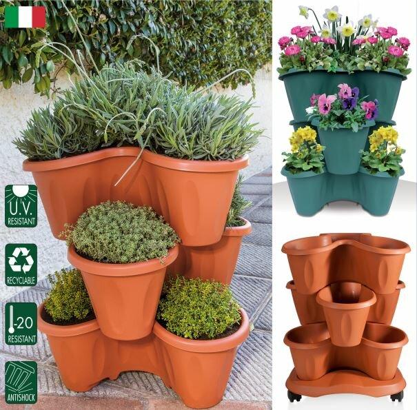 Trifoglio Resin Vertical Garden with Saucer