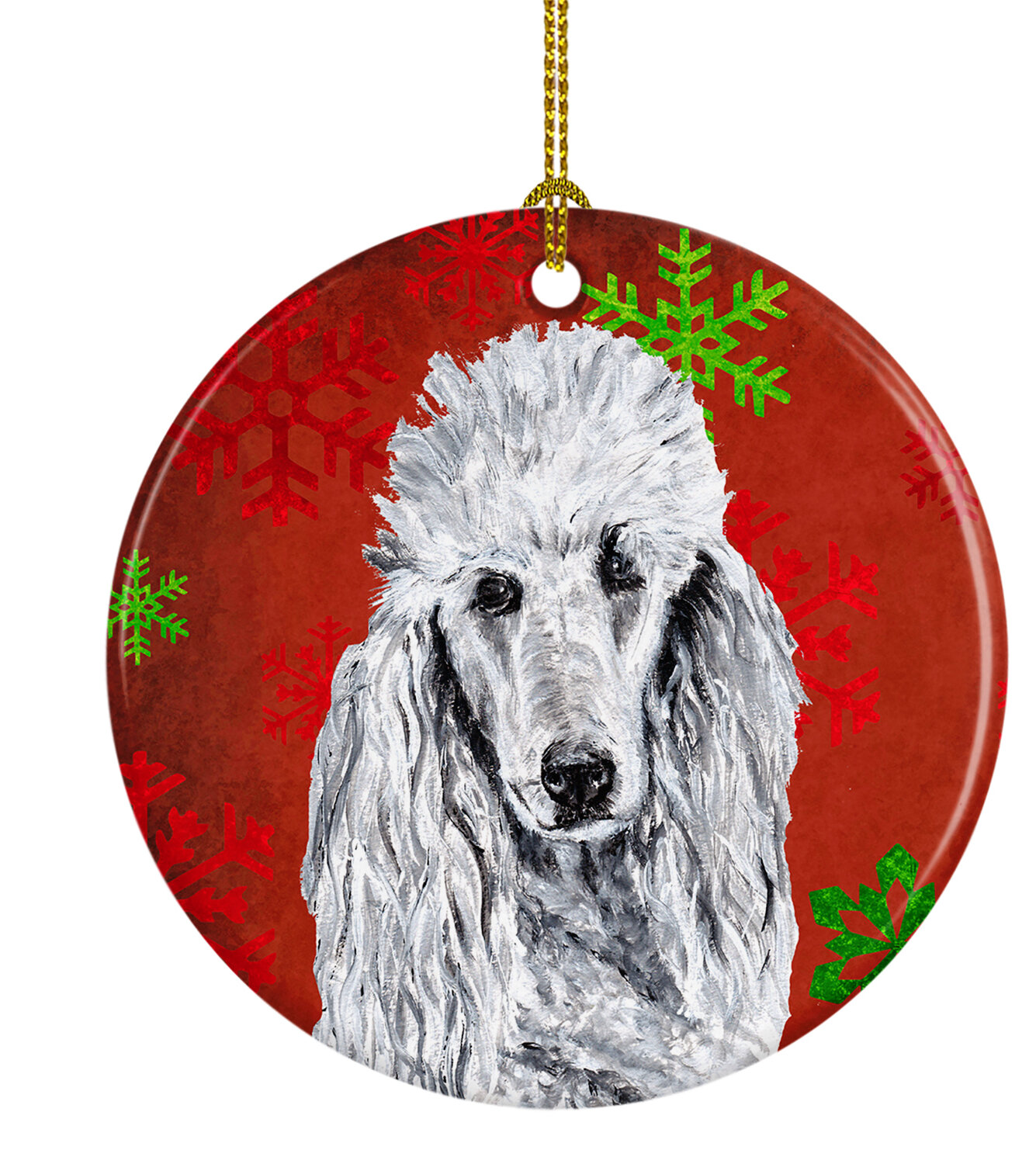 The Holiday Aisle Standard Poodle Snowflakes Holiday Ceramic Hanging Figurine Ornament Wayfair