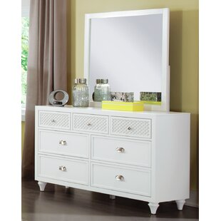 Amanda 7 Drawer Double Dresser with Mirror by My Home Furnishings