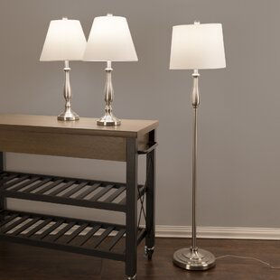 Lavish Home 3 Piece Table and Floor Lamp Set