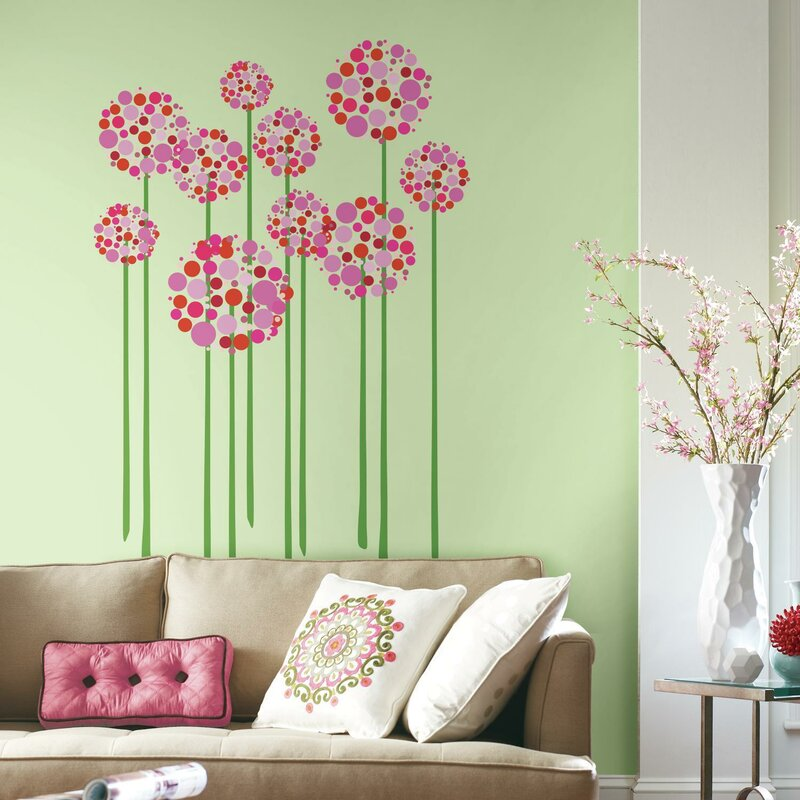 room mates bright floral dot peel and stick giant wall decal | wayfair