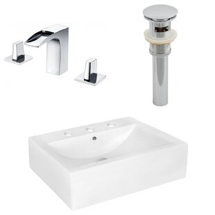 Looking for Above Counter Ceramic Rectangular Vessel Bathroom Sink with Faucet and Overflow By Royal Purple Bath Kitchen
