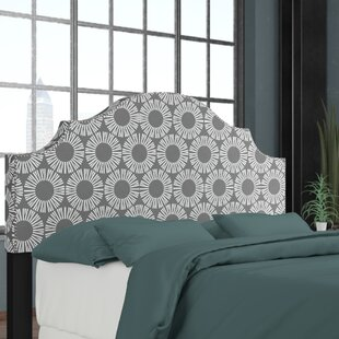 Edford Nail Button Notched Medallion Upholstered Panel Headboard