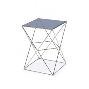 Christia Square Glass Top End Table by Orren Ellis