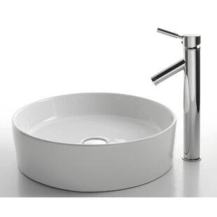 Kraus Ceramic Ceramic Circular Vessel Bathroom Sink with Faucet