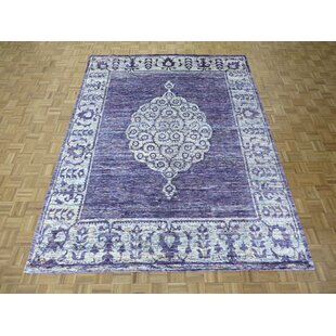 Bargain One-of-a-Kind Pellegrino Hand-Knotted Wool Purple Area Rug ByBloomsbury Market