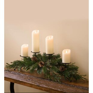 Holiday Mixed Faux Greenery Centerpiece Metal Candelabra