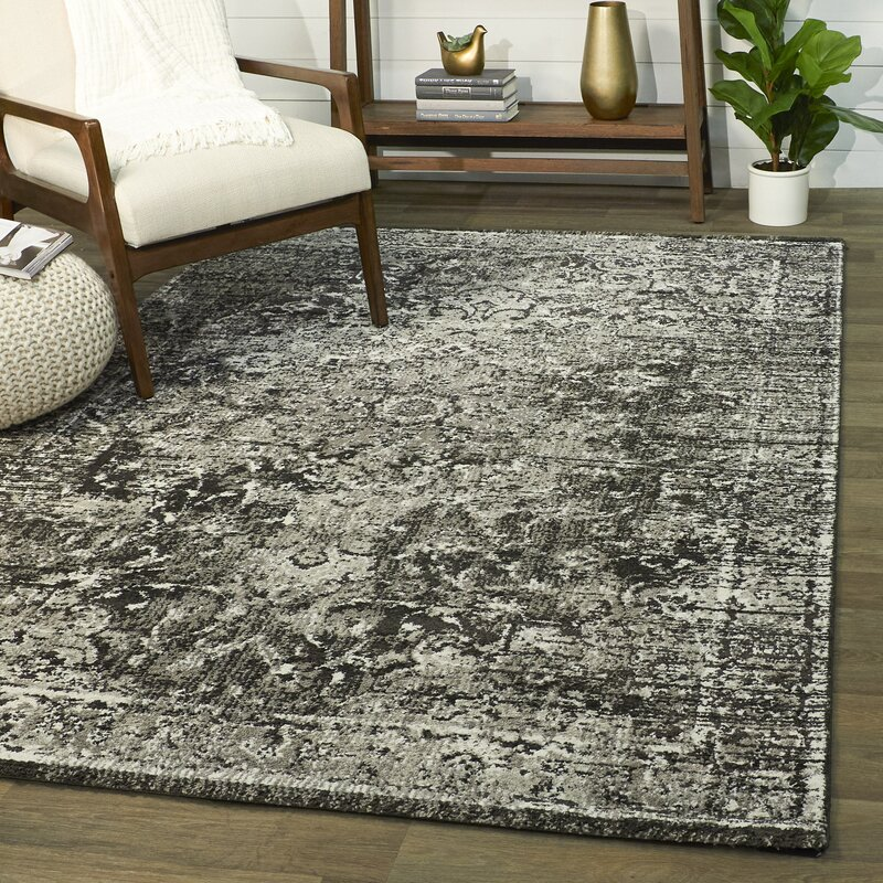 Ophelia Co Alverez Power Loom Black Gray Rug Wayfair