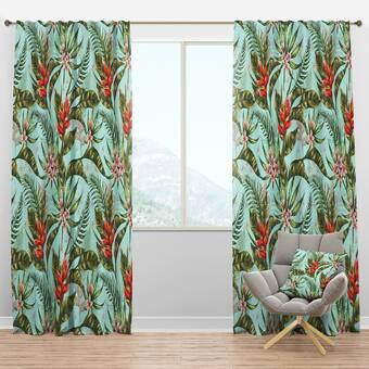 East Urban Home Mid Century Tropical Foliage Ii Floral Semi Sheer Thermal Rod Pocket Curtain Panels Wayfair