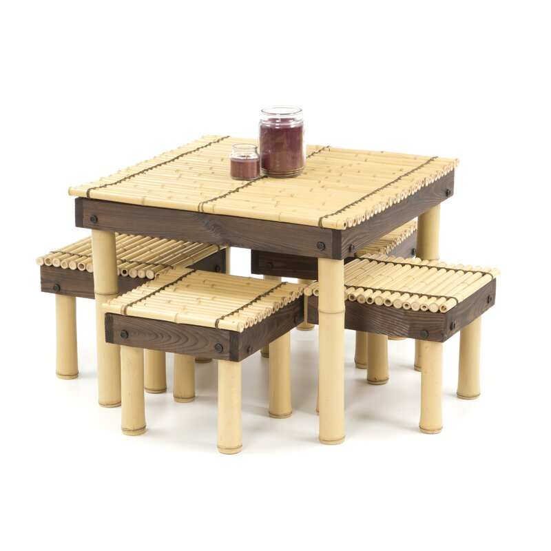 Charmant Gina Bamboo Coffee Table With Four Stools