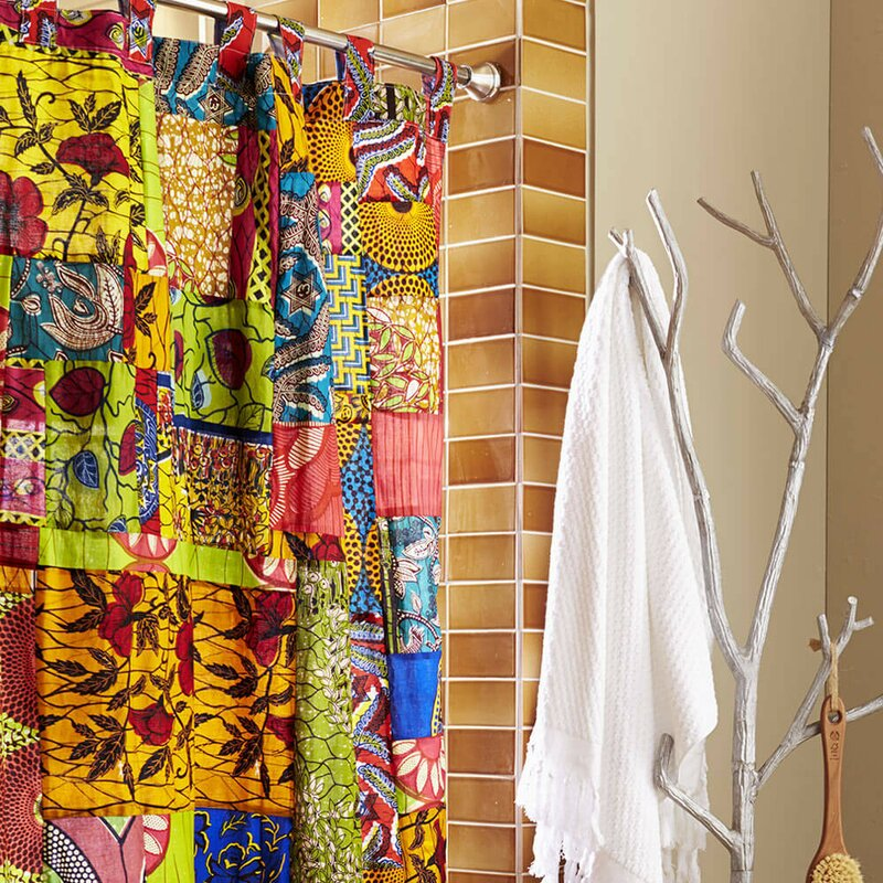 Fabric African Print Patchwork Cotton Shower Curtain