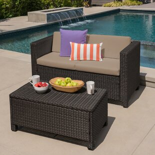 Ardal Outdoor Rattan Loveseat and Table Set with Cushions