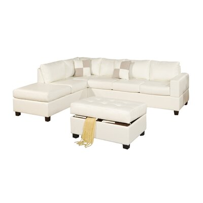Corporate Reversible Sectional with Ottoman Upholstery: Pale Cream by Andover Mills