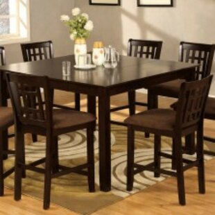 Vlachavas Transitional Square 9 Piece Solid Wood Pub Table Set