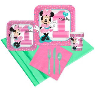 Disney Minnie Mouse 1st Birthday Disposable Party Pack