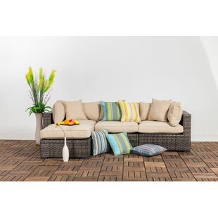 Hartley Outdoor 4 Piece Wicker Sectional Seating Group with Cushions